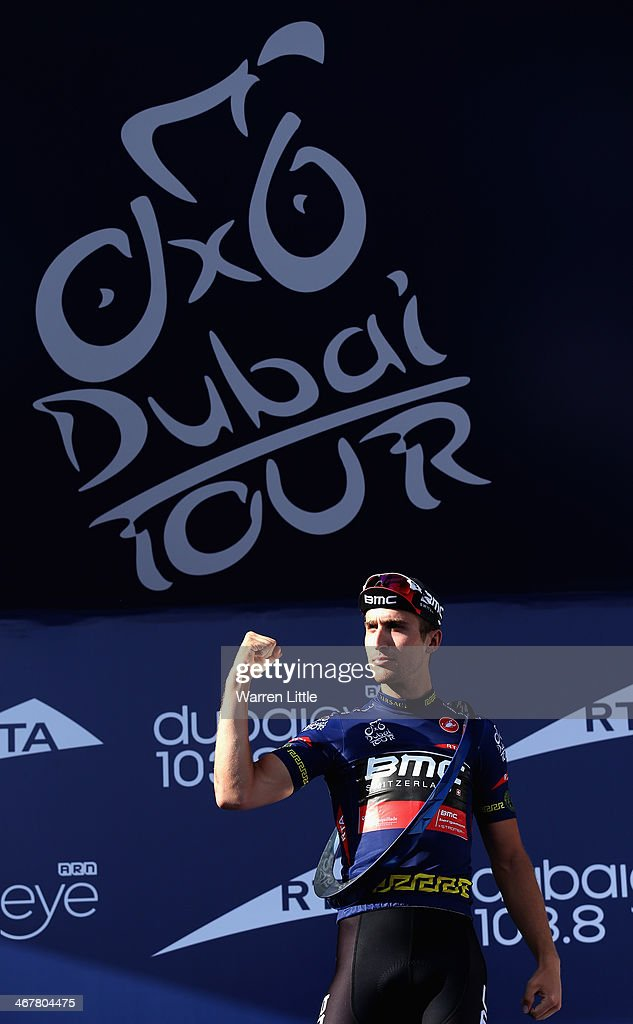 <a gi-track='captionPersonalityLinkClicked' href=/galleries/search?phrase=Taylor+Phinney&family=editorial&specificpeople=4645036 ng-click='$event.stopPropagation()'>Taylor Phinney</a> of the USA and BMC Racing Team celebrates winning the 2014 Dubai Tour on February 8, 2014 in Dubai, United Arab Emirates.
