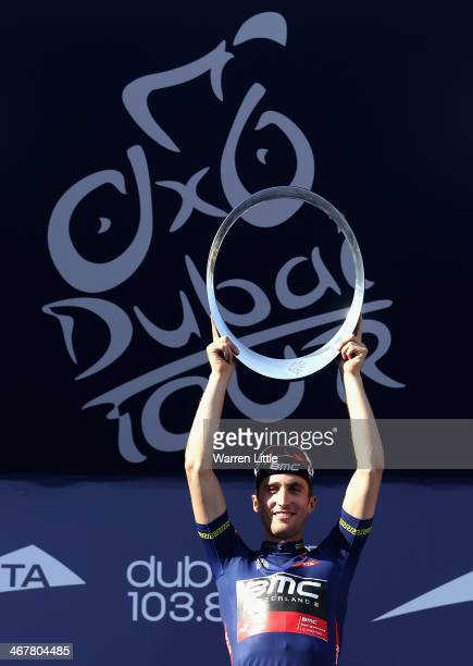 Taylor Phinney of the USA and BMC Racing Team celebrates winning the 2014 Dubai Tour on February 8 2014 in Dubai United Arab Emirates