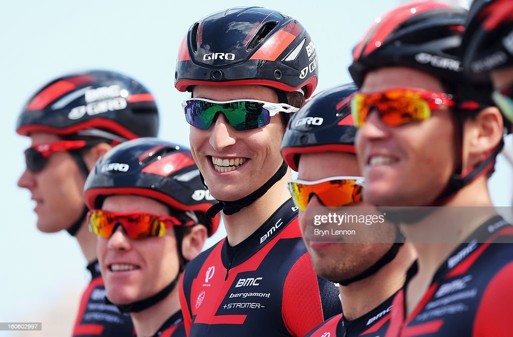 <a gi-track='captionPersonalityLinkClicked' href=/galleries/search?phrase=Taylor+Phinney&family=editorial&specificpeople=4645036 ng-click='$event.stopPropagation()'>Taylor Phinney</a> of the USA and the BMC Racing Team lines up with his team at the stage one of the 2013 Tour of Qatar from Katara Cultural Village to Dukhan Beach on February 3, 2013 in Doha, Qatar.
