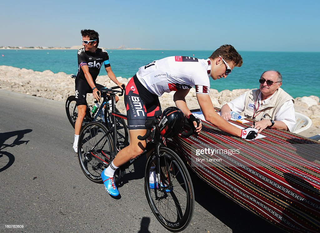 Taylor Phinney of the USA and the BMC Racing Team signs on at the start of during stage three of the Tour of Qatar from Al Wakra to Mesaieed on February 5, 2013 in Doha, Qatar.