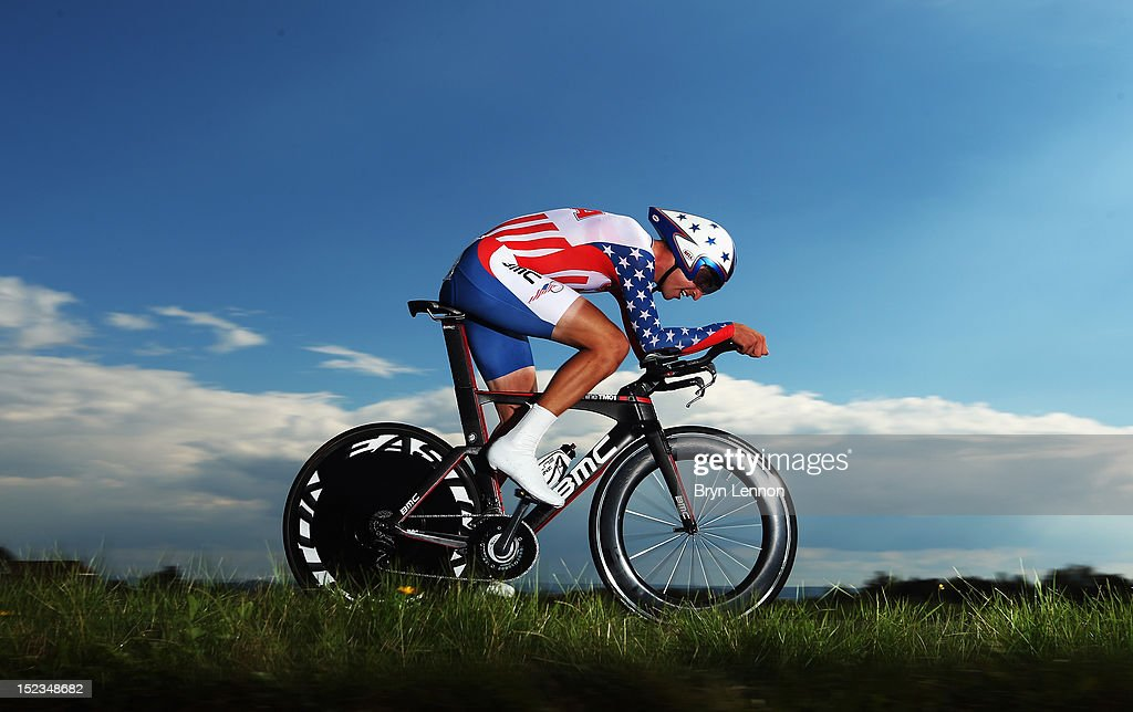 <a gi-track='captionPersonalityLinkClicked' href=/galleries/search?phrase=Taylor+Phinney&family=editorial&specificpeople=4645036 ng-click='$event.stopPropagation()'>Taylor Phinney</a> of the USA in action on his way to 2nd place in the Elite Men's Time Trial on day four of the UCI Road World Championships on September 19, 2012 in Valkenburg, Netherlands.