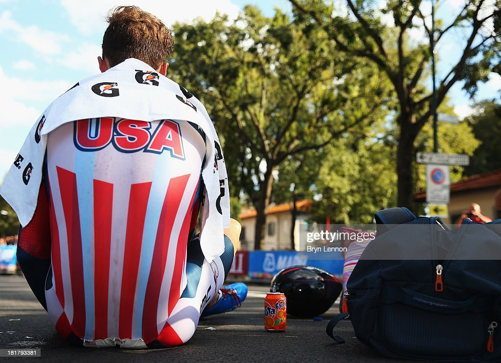 Taylor Phinney of the USA sits on the ground after finishing 5th in the Elite Men's Time Trial, from Montecatini Terme to Florence on day four of the UCI World Championships on September 25, 2013 in Florence, Italy.