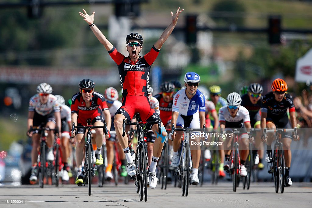 Taylor Phinney of United States riding for BMC Racing celebrates as he crosses the line to win stage one of the 2015 USA Pro Challenge on August 17, 2015 in Steamboat Springs, Colorado.