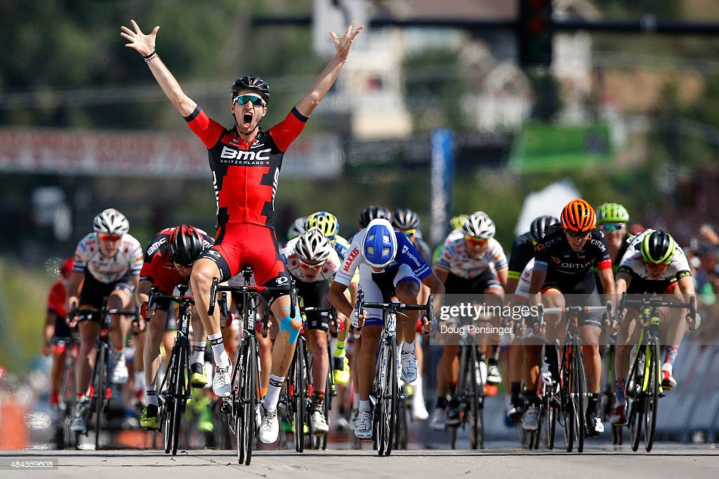 Taylor Phinney of United States riding for BMC Racing celebrates as he crosses the line to win stage one of the 2015 USA Pro Challenge on August 17...