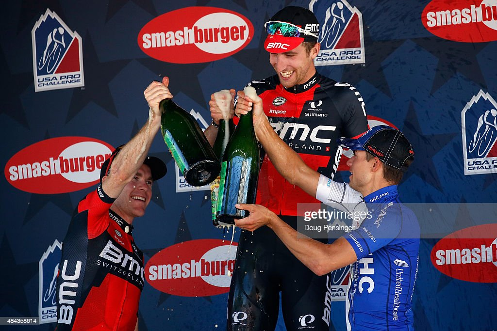 <a gi-track='captionPersonalityLinkClicked' href=/galleries/search?phrase=Taylor+Phinney&family=editorial&specificpeople=4645036 ng-click='$event.stopPropagation()'>Taylor Phinney</a> (C) of United States riding for BMC Racing celebrates his victory with <a gi-track='captionPersonalityLinkClicked' href=/galleries/search?phrase=Kiel+Reijnen&family=editorial&specificpeople=13500956 ng-click='$event.stopPropagation()'>Kiel Reijnen</a> (R) of United States riding for UnitedHealthcare in second place and <a gi-track='captionPersonalityLinkClicked' href=/galleries/search?phrase=Brent+Bookwalter&family=editorial&specificpeople=6931494 ng-click='$event.stopPropagation()'>Brent Bookwalter</a> (L) of United States riding for BMC Racing in third place in stage one of the 2015 USA Pro Challenge on August 17, 2015 in Steamboat Springs, Colorado.