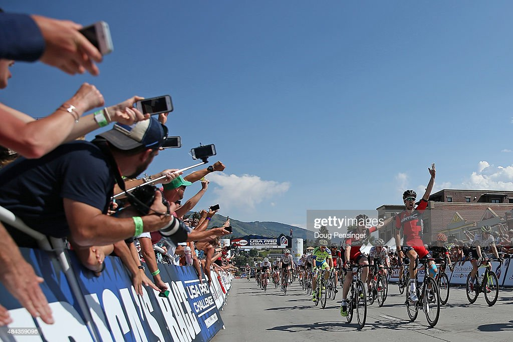 <a gi-track='captionPersonalityLinkClicked' href=/galleries/search?phrase=Taylor+Phinney&family=editorial&specificpeople=4645036 ng-click='$event.stopPropagation()'>Taylor Phinney</a> (R) of United States riding for BMC Racing celebrates his victory with teammate and third place finisher Brent Bookwalter (L) of United States riding for BMC Racing in stage one of the 2015 USA Pro Challenge on August 17, 2015 in Steamboat Springs, Colorado.