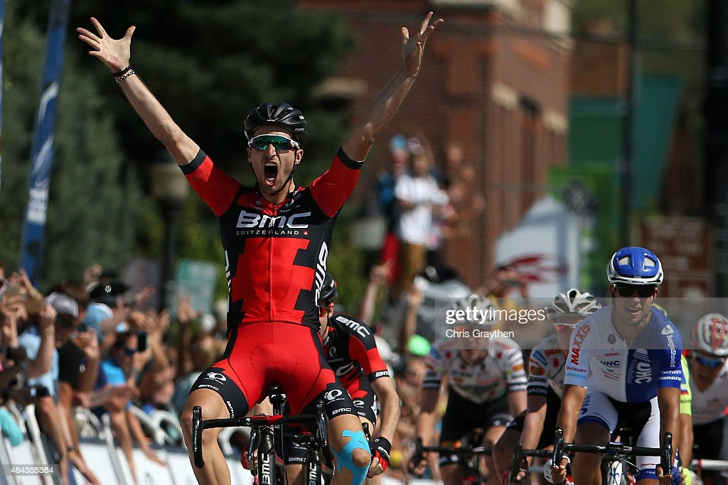 Taylor Phinney of United States riding for BMC Racing crosses the finish line to win Stage One of the 2015 USA Pro Cycling Challenge on August 17, 2015 in Steamboat Springs, Colorado.