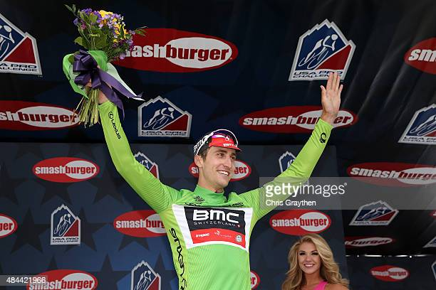 Taylor Phinney of United States riding for BMC Racing poses for a photo in the green points leader jersey after stage two from Steamboat Springs to...