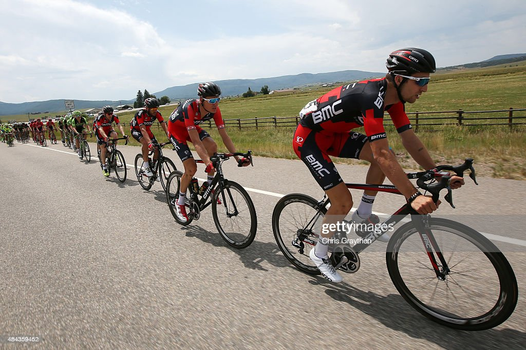 <a gi-track='captionPersonalityLinkClicked' href=/galleries/search?phrase=Taylor+Phinney&family=editorial&specificpeople=4645036 ng-click='$event.stopPropagation()'>Taylor Phinney</a> of United States riding for BMC Racing rides in the peloton during Stage One of the 2015 USA Pro Cycling Challenge on August 17, 2015 in Steamboat Springs, Colorado.