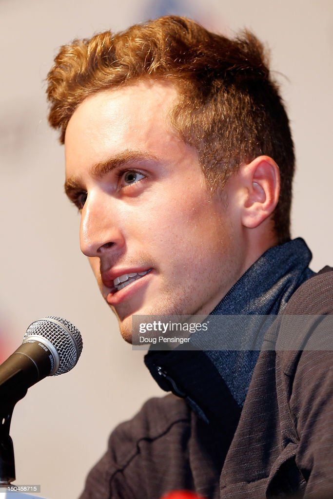 <a gi-track='captionPersonalityLinkClicked' href=/galleries/search?phrase=Taylor+Phinney&family=editorial&specificpeople=4645036 ng-click='$event.stopPropagation()'>Taylor Phinney</a> riding for BMC Racing addresses the media during the kick off press conference for the 2012 USA Pro Challenge on August 18, 2012 in Durango, Colorado.