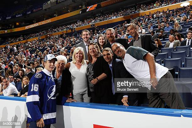 Taylor Raddysh celebrates with his family after being selected 58th by the Tampa Bay Lightning during the 2016 NHL Draft on June 25 2016 in Buffalo...