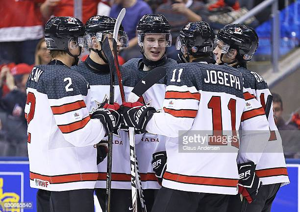Taylor Raddysh of Team Canada celebrates one of his 4 goals against Team Latvia during a preliminary game in the 2017 IIHF World Junior Hockey...