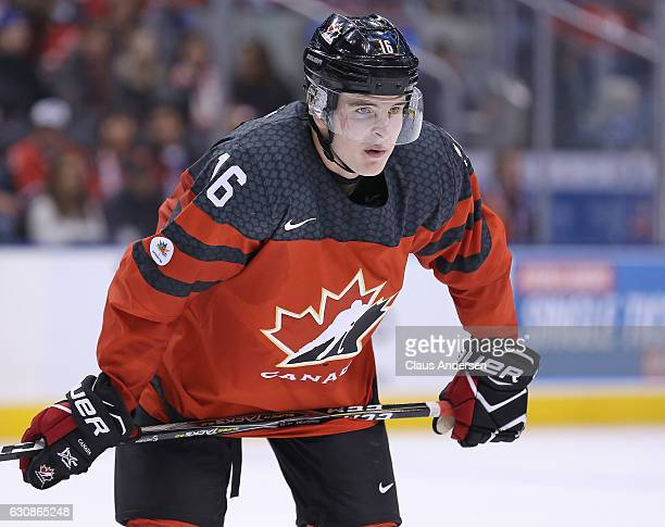 Taylor Raddysh of Team Canada waits for a puck drop against Team USA during a preliminary round game in the 2017 IIHF World Junior Hockey...