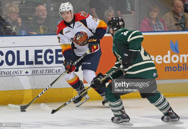 Taylor Raddysh of the Erie Otters looks to make a pass against the London Knights in Game Six of the OHL Western Conference SemiFinal on April 16...