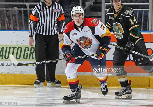 Taylor Raddysh of the Erie Otters skates against the London Knights during an OHL game at Budweiser Gardens on January 27 2017 in London Ontario...