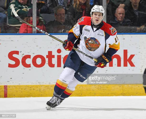 Taylor Raddysh of the Erie Otters skates against the London Knights during an OHL game at Budweiser Gardens on March 10 2017 in London Ontario Canada...