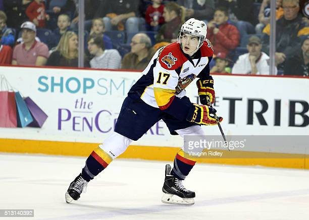 Taylor Raddysh of the Erie Otters skates during an OHL game against the Niagara IceDogs at the Meridian Centre on February 28 2016 in St Catharines...