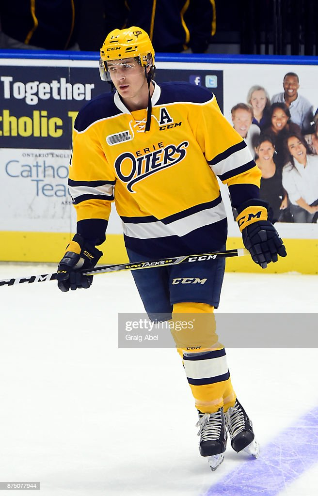 Taylor Raddysh #17 of the Erie Otters skates in warmup prior to a game against the Mississauga Steelheads on November 15, 2017 at Hershey Centre in Mississauga, Ontario, Canada. (Photo by Graig Abel/Getty Images) Steelheads defeated the Otters 5-4.