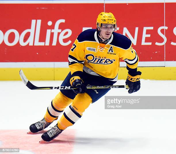 Taylor Raddysh of the Erie Otters turns up ice against the Mississauga Steelheads during OHL game action on November 15 2017 at Hershey Centre in...