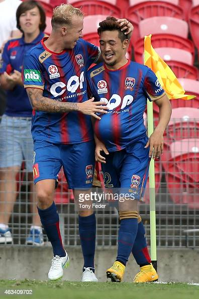 Taylor Regan and Kije Lee of the Jets celebrate a goal during the round 17 ALeague match between the Newcastle Jets and the Western Sydney Wanderers...