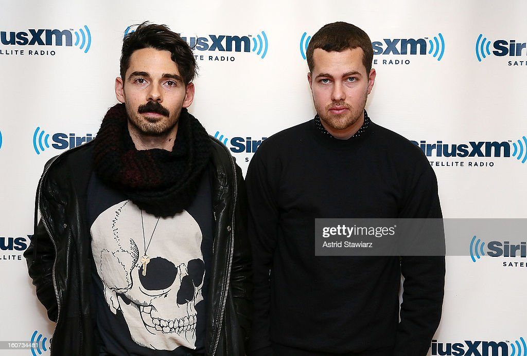 Taylor Rice and Ryan Hahn of the band Local Natives perform on SiriusXMU during its ÒSiriusXMU SessionsÓ at SiriusXM Studios on February 4, 2013 in New York City.
