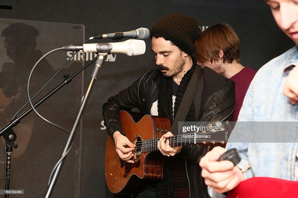 Taylor Rice of the band Local Natives performs on SiriusXMU during its ÒSiriusXMU SessionsÓ at SiriusXM Studios on February 4, 2013 in New York City.