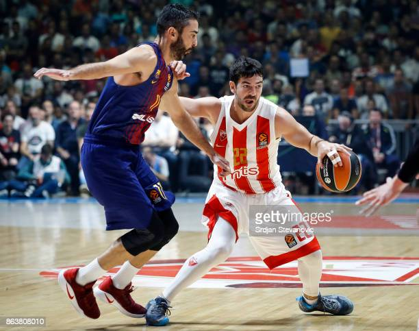 Taylor Rochestie of Crvena Zvezda in action against Juan Carlos Navarro of Barcelona during the 2017/2018 Turkish Airlines EuroLeague Regular Season...