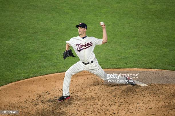 Taylor Rogers of the Minnesota Twins pitches against the Texas Rangers on August 5 2017 at Target Field in Minneapolis Minnesota The Rangers defeated...
