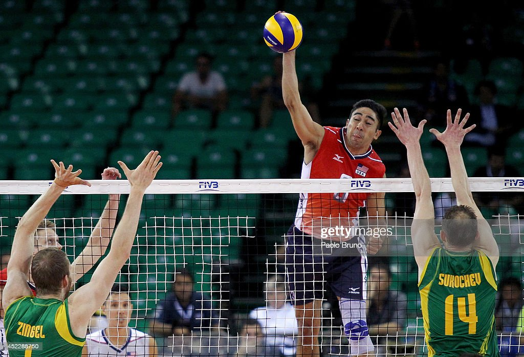 Taylor Sander of the United States spikes the ball during the FIVB World League Final Six match between United States and Australia at Mandela Forum on July 17, 2014 in Florence, Italy.