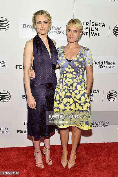 Taylor Schilling and Judith Godreche attend the premiere of 'The Overnight' during the 2015 Tribeca Film Festival at BMCC Tribeca PAC on April 21...