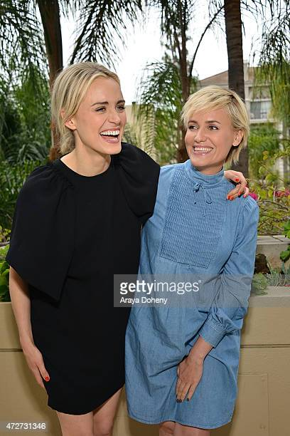 Taylor Schilling and Judith Godreche attend the 'The Overnight' press junket and photo call on May 8 2015 in Beverly Hills California
