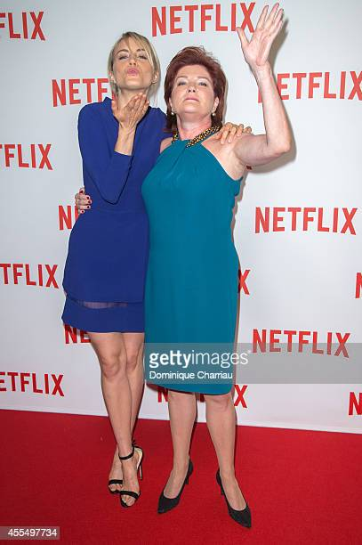 Taylor Schilling and Kate Mulgrew attend the 'Netflix' Launch Party At Le Faust In Paris on September 15 2014 in Paris France