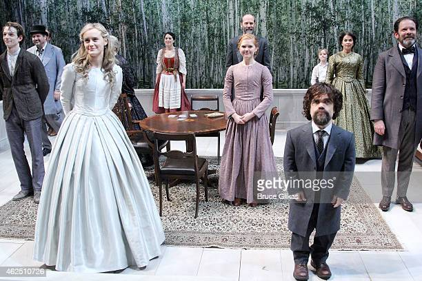 Taylor Schilling as 'Natalya' and Peter Dinklage as 'Rakitin' take their Opening Night curtain call in the revival of 'A Month In The Country' at...
