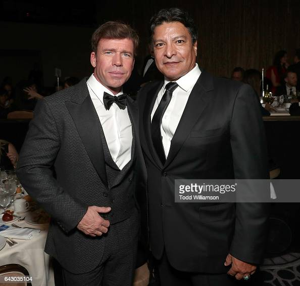 Taylor Sheridan and Gil Birmingham attend the 2017 Writers Guild Awards LA Ceremony at The Beverly Hilton Hotel on February 19 2017 in Beverly Hills...