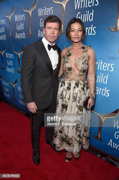 Taylor Sheridan and guest attend the 2017 Writers Guild Awards LA Ceremony at The Beverly Hilton Hotel on February 19 2017 in Beverly Hills California
