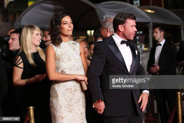 Taylor Sheridan and Nicole Sheridan attend the 'The Square' screening during the 70th annual Cannes Film Festival at Palais des Festivals on May 20...