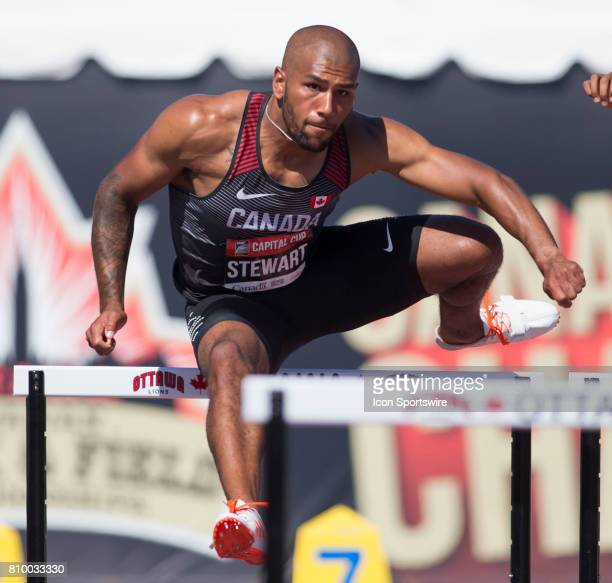 Taylor Stewart competing competing in the 110m hurdles in the Capital Cup decathlon on July 5 in Ottawa Canada