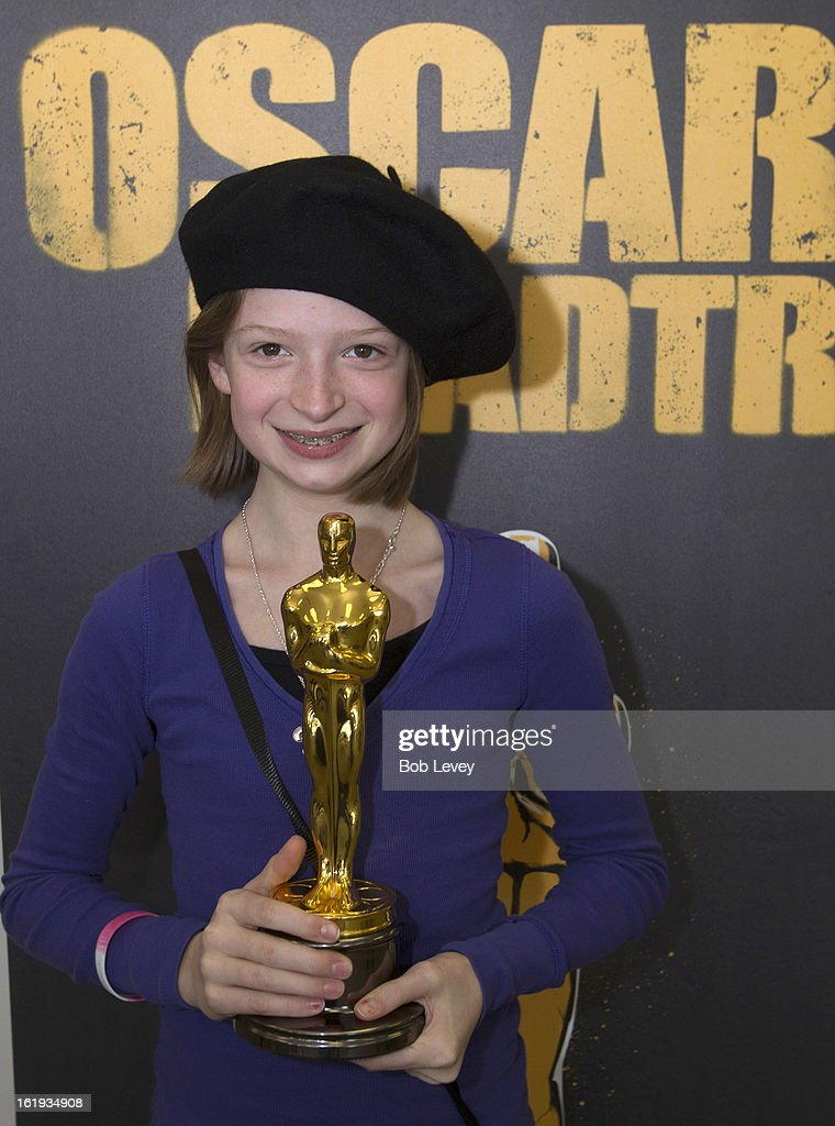 Taylor Swartz of Austin, holds the Oscar statue during the First-Ever Oscar Roadtrip on February 17, 2013 in Houston, Texas.