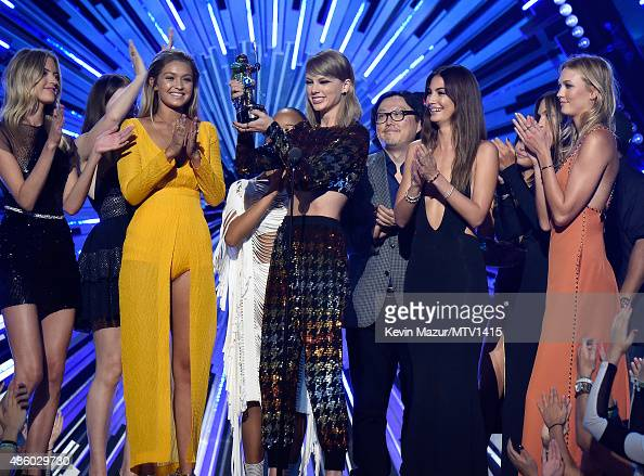 Taylor Swift accepts award onstage during the 2015 MTV Video Music Awards at Microsoft Theater on August 30 2015 in Los Angeles California