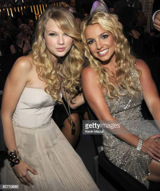 Taylor Swift and Britney Spears in the audience at the 2008 MTV Video Music Awards at Paramount Pictures Studios on September 7 2008 in Los Angeles...