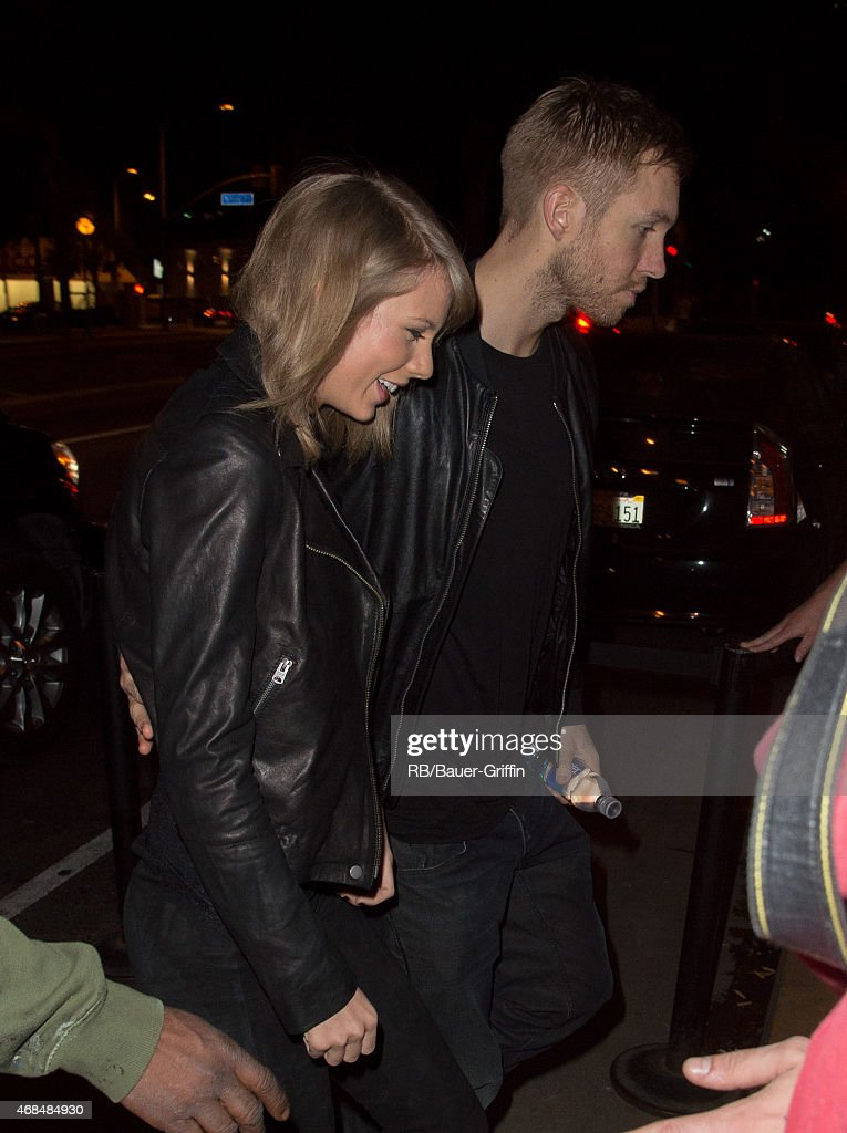 Taylor Swift and Calvin Harris arrive at the Troubadour in West Hollywood to attend a benefit concert on April 02 2015 in Los Angeles California