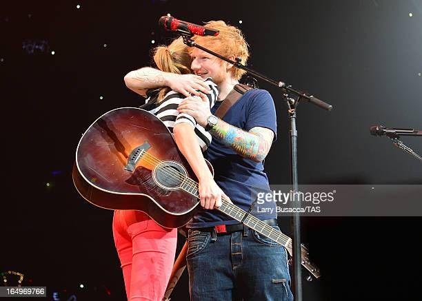 Taylor Swift and Ed Sheeran perform onstage at the Prudential Center on March 29 2013 in Newark New Jersey Seventime GRAMMY winner Taylor Swift plays...