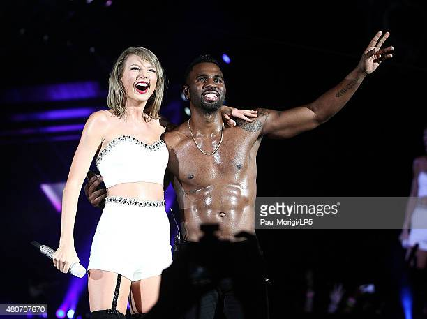Taylor Swift and Jason Derulo perform onstage during The 1989 World Tour Live at Nationals Park on July 14 2015 in Washington DC