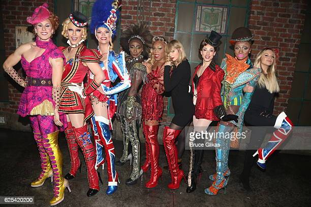 Taylor Swift and Kelsea Ballerini pose backstage with Todrick Hall and the cast of the musical 'Kinky Boots' on Broadway at The Al Hirschfeld Theater...