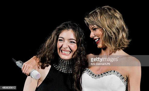 Taylor Swift and Lorde perform onstage during The 1989 World Tour Live at Nationals Park on July 13 2015 in Washington DC