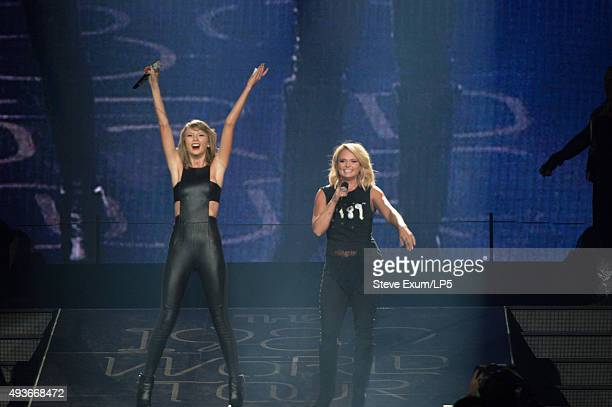 Taylor Swift and Miranda Lambert performs at a concert for adoring fans at the Greensboro Coliseum on October 21 2015 in Greensboro North Carolina