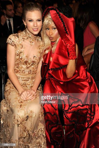 Taylor Swift and Nicki Minaj attend The 54th Annual GRAMMY Awards at Staples Center on February 12 2012 in Los Angeles California