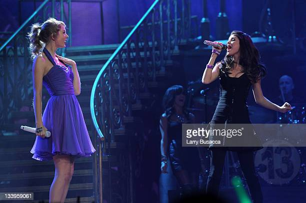 Taylor Swift and Selena Gomez perform onstage during the 'Speak Now World Tour' at Madison Square Garden on November 22 2011 in New York City Taylor...