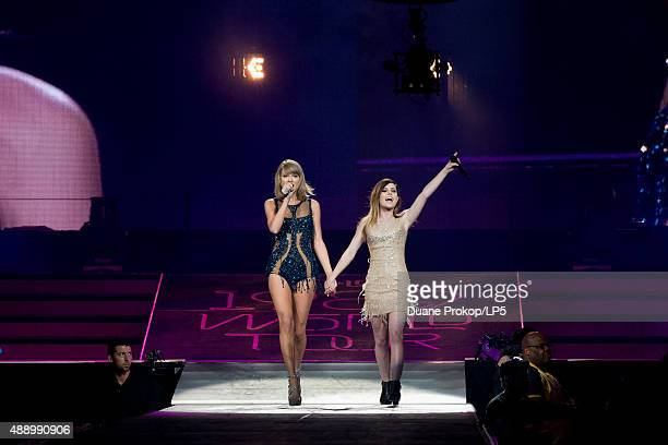 Taylor Swift and special guest Sydney Sierota perform during The 1989 World Tour at Nationwide Arena on September 18 2015 in Columbus Ohio
