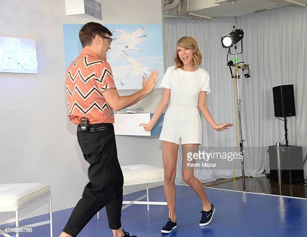 Taylor Swift and Teen Vogue style features director Andrew Bevan attend the Keds and Taylor Swift 1989 Style Event at Canoe Studios on May 27 2015 in...